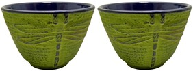 Teaology Cast Iron Cups - Green Dragonfly