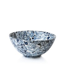 Burleigh Ink Blue Hibiscus Large Footed Bowl