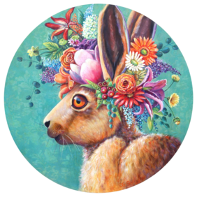 Flowers in her hare / Print