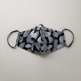 Face Mask // Black with Grey Leaves