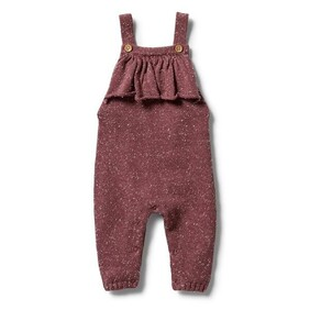 Knitted Ruffle Overall - Wild Ginger Fleck