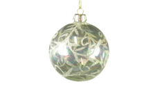 Clear Glass Ball with Champagne Leaf Pattern