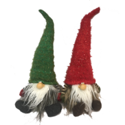Pair of Sitting Red and Green Hatted Gonks
