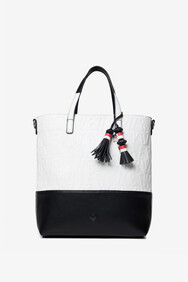 Desigual - Black With White Raised Lettering 2 in 1 Shopper Bag