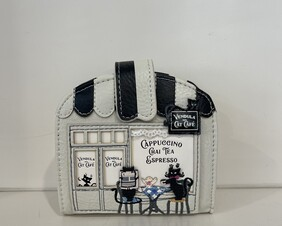 Vendula Black and White Cat Cafe Clipper Coin/Card Wallet