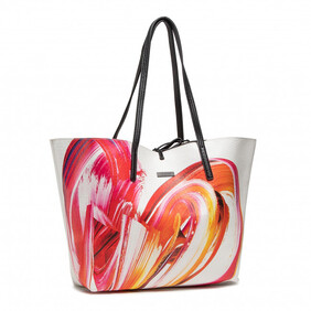 Desigual White and Pink Swirl Large Shopper Two in One Bag