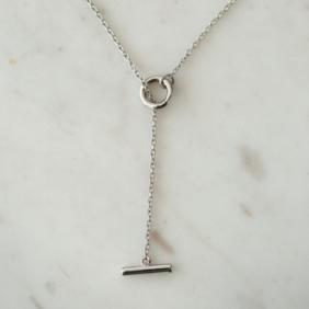 Sophie Thread Bar Necklace - Silver
