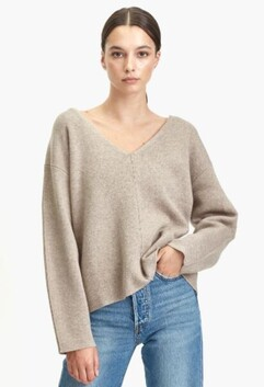 Commoners Wool Cashmere V Neck Knit - Clouded