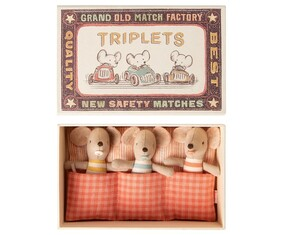 Maileg Baby Mice Triplets in a matchbox