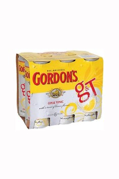 GORDONS GIN AND TONIC 6PACK 250ML CANS