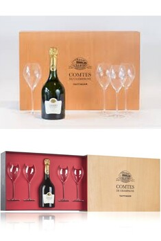 TAITTINGER COMTES 2000 OR 2004 GIFT SET WITH 4 X GLASSES
