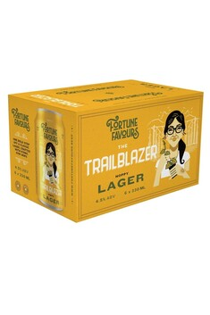FORTUNE FAVOURS THE TRAILBLAZER HOPPY LAGER 4.5% 330ML 6 PACK CANS