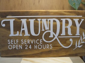 Wooden sign Laundry