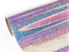 """Permanent Adhesive Vinyl 12"""" x 12"""" sheet. Holographic rainbow copper coin pattern.."""