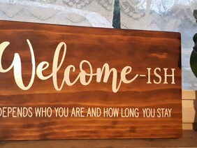 """Welcome wooden sign 15"""" x 9"""""""