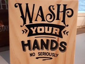 """Wash your hands wooden sign 5"""" x 5"""""""