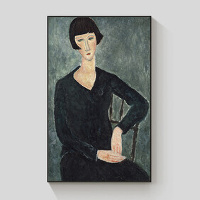 Seated Woman in Blue Dress framed canvas 70x100cm