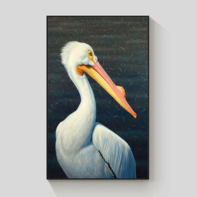 George the Pelican framed canvas 70x100cm