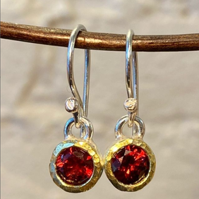 Silver with 22ct Gold Earrings - Red Garnets