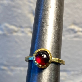 Silver with 22ct Gold Ring with Garnet