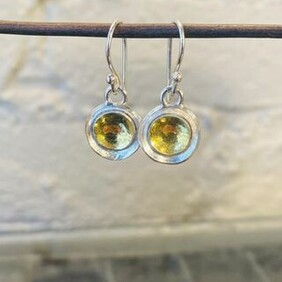 Silver with 22ct Gold Earrings - Round