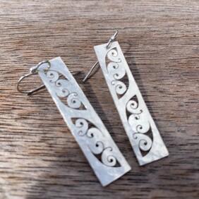 Silver Kowhaiwhai Earrings