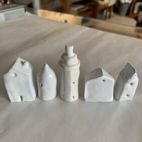 Ceramic Tiny House Set with Lighthouse