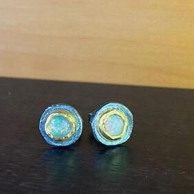 Opal Silver & Gold Studs