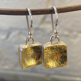 Silver with 22ct Gold Earrings - Square