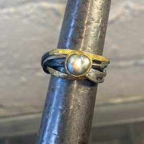 Handmade Oxidised Silver & 22ct Gold Ring (with Cook Island Black Pearl)