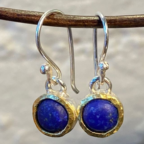 Silver with 22ct Gold Earrings - Lapis