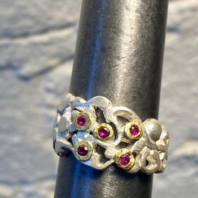 Silver with 22ct Gold Ring with Rubies