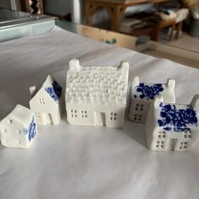 Ceramic Tiny House Set - Blue