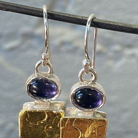 Silver with 22ct Gold Earrings with Iolite