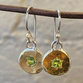 Silver with 22ct Gold Earrings - Green