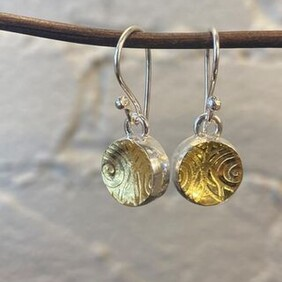 Silver with 22ct Gold Earrings - Round II