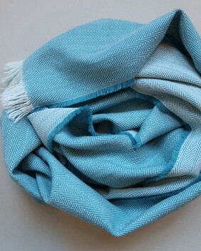 EDEN TEAL AND WHITE SCARVES AND WRAPS