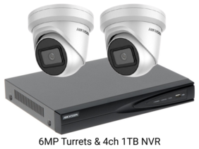 Hik Vision 2x 6MP IP 4-Channel Surveillance Camera Kit With 1TB HDD (Installation included)