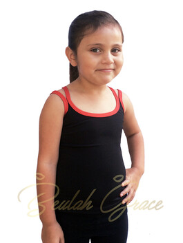 Strappy Tank - Black with Red Binding