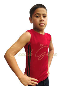 Male Tank Top - Red with Black Stripes