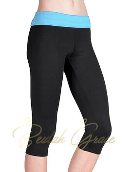 Foldover 3/4 Pants with Blue Waistband