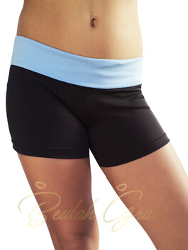 Foldover Hotpants with Blue Waistband