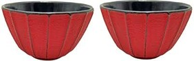 Cast Iron Tea Cup 160ml Ribbed Red