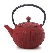 Cast Iron Teapot 500ml Ribbed Red