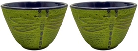 Cast Iron Tea Cup 120ml Dragonfly Green609722909457
